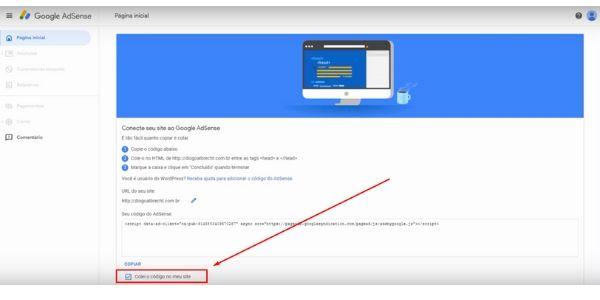 adicionado o codigo google no head do site
